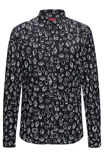 修身版都市印花棉衬衫,  001_黑色