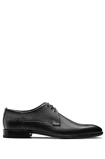 印花小牛皮系带德比鞋,  001_黑色