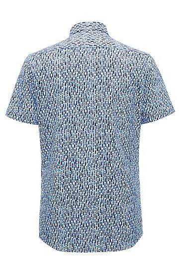 修身版几何印花牛津棉衬衫,  461_淡蓝色