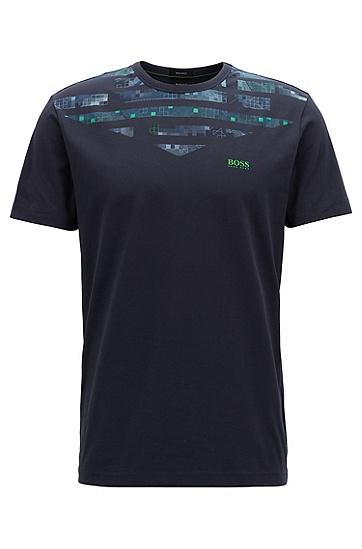 饰以本季艺术图案的弹力棉T恤,  410_海军蓝色