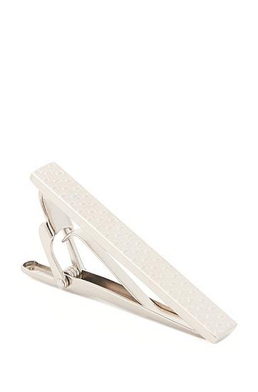 饰有雕刻式锚型图案设计的手工抛光领带夹,  040_银灰色