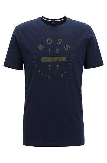 修身版皮马棉印花T恤,  410_海军蓝色