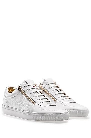 饰以双拉链细节的滚磨软羊革低帮运动鞋,  100_白色