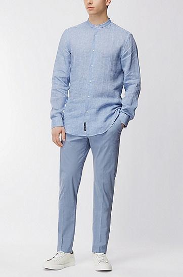 意大利弹力棉修身斜纹裤,  412_海军蓝色
