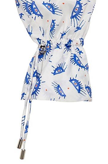 堆褶袖口印花桑蚕丝女士衬衫,  962_多色
