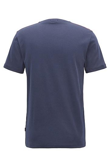 修身版航海印花棉毛布T恤,  410_海军蓝色