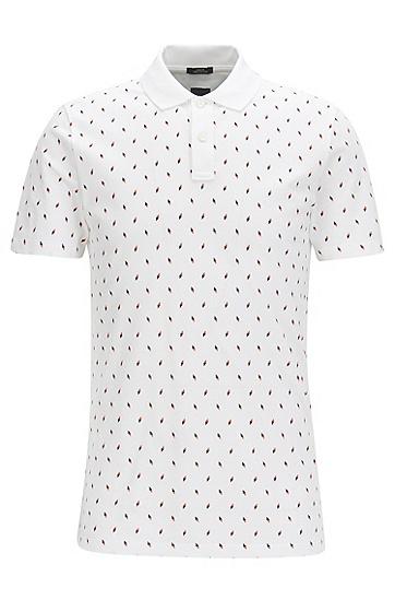 修身版印花棉凸纹布polo衫,  100_白色