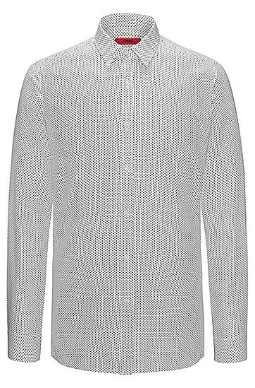 修身版通体涂料印花棉衬衫,  199_淡白色