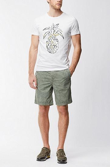 常规版水洗棉平纹单面针织布凤梨印花T恤,  100_白色