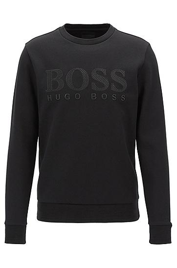 饰有三维logo刺绣的修身版运动衫,  001_黑色