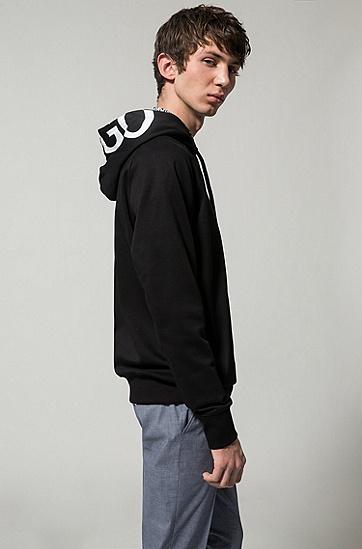双面棉logo帽衫,  001_黑色