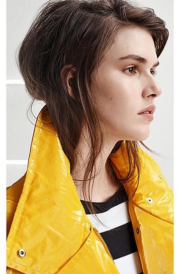 织入双层箔片的高亮棉防雨夹克,  723_中黄色