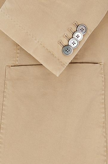 修身版成衣染色弹力棉外套,  266_中米色