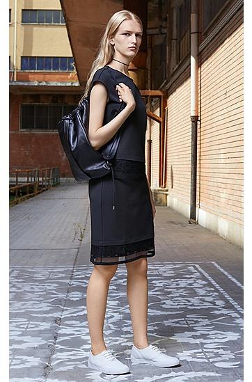 饰以蕾丝的多层平纹单面针织布常规版T恤,  001_黑色