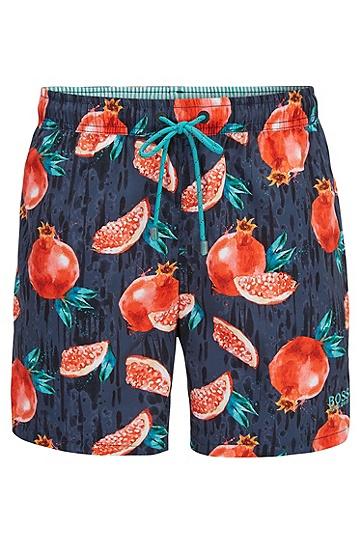 速干热带水果图案印花泳裤,  063_淡灰色