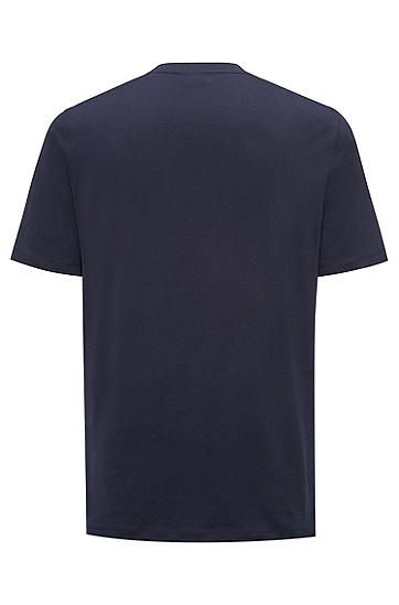 饰以反转logo的大版棉平纹单面针织布T恤,  410_海军蓝色