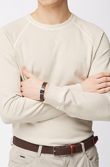 饰以磁扣的纹理质感皮革手链,  201_暗棕色
