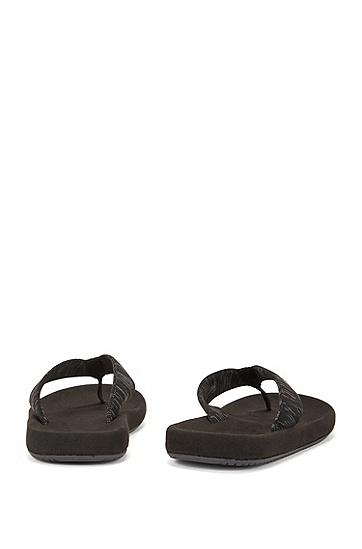 饰以针织提花绑带的夹脚人字拖凉鞋,  021_暗灰色
