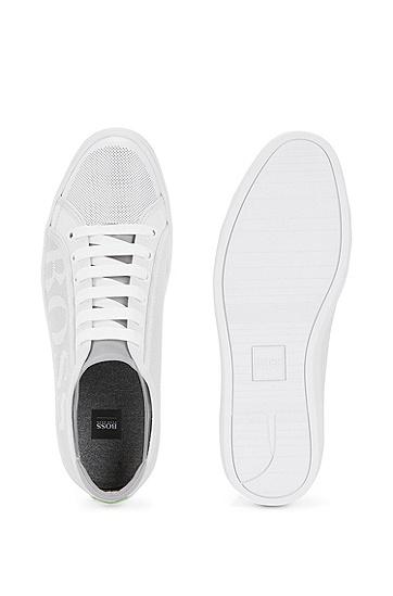 饰以穿孔细节的网球装风格皮革运动鞋,  100_白色