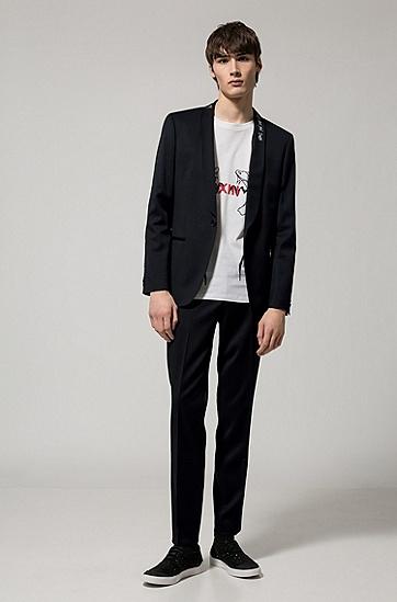 饰以蛇状艺术画的棉平纹单面针织布T恤,  100_白色