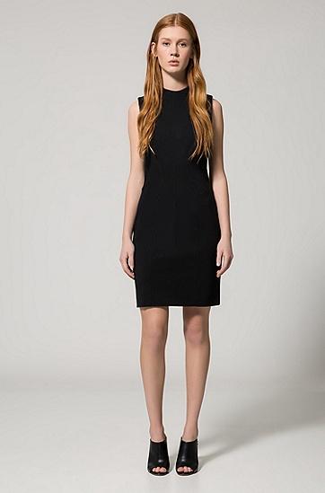 高领口无袖连衣裙,  001_黑色