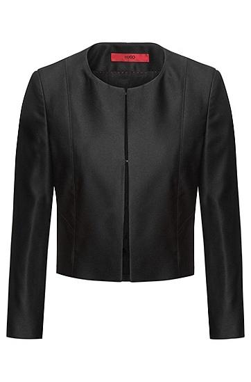 常规版钩眼扣门襟时尚裁短外套,  001_黑色