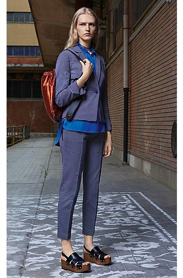 修身版棉质混纺短裁提花长裤,  962_多色