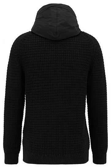 饰以对比式风帽的全拉链针织外套,  001_黑色