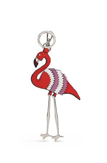 皮革火烈鸟钥匙圈,  626_亮红色