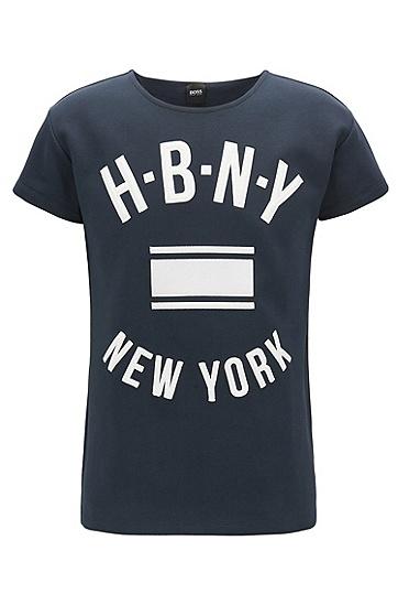 罗纹棉质平纹单面针织布印花T恤,  480_淡蓝色