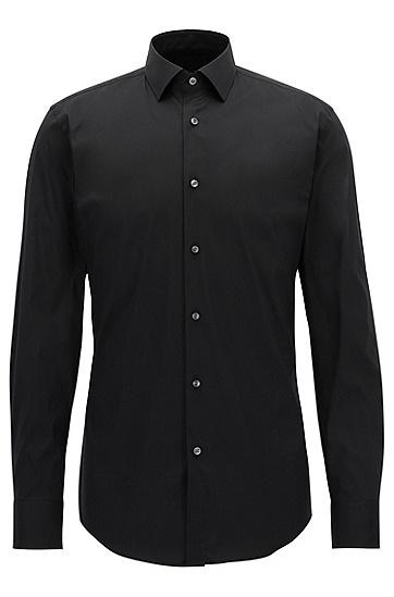 修身版弹力棉混纺府绸衬衫,  001_黑色