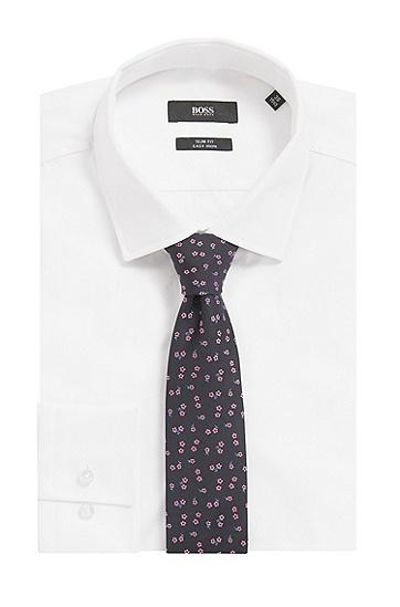 现代风格领带尖桑蚕丝花卉图案领带,  401_暗蓝色