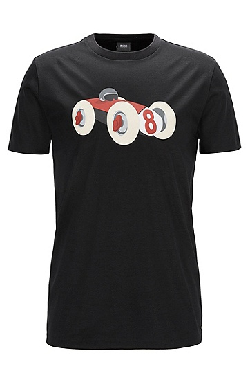 饰有赛车图案的修身版丝光棉T恤,  001_黑色