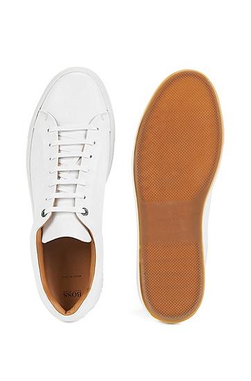 网球风格打蜡皮革运动鞋,  100_白色