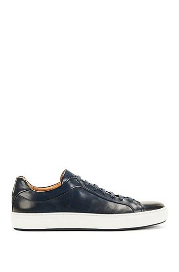 网球风格打蜡皮革运动鞋,  401_暗蓝色