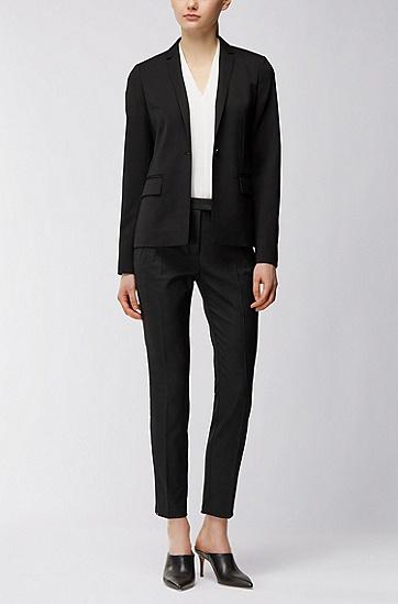 常规版带弹力羊毛外套,  001_黑色