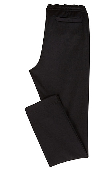 刺绣条纹缝边裤脚修身版平纹单面针织布长裤,  001_黑色