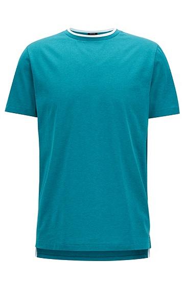 双重领单面平纹单面针织布丝光棉T恤,  312_中绿色