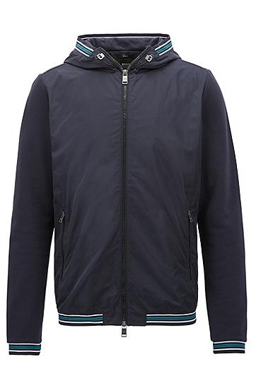 镶边的拉链式带风帽运动衫,  480_淡蓝色
