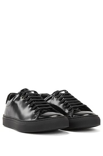 意大利帆布与皮革混合材质低帮运动鞋,  001_黑色