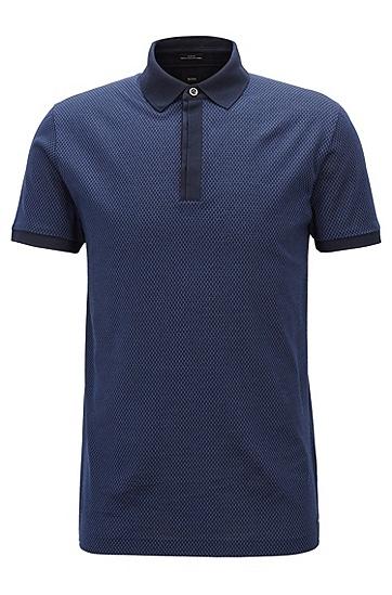 修身版蜂窝结构意大利棉质polo衫,  480_淡蓝色