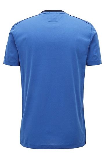 修身版蜂窝元素前襟意大利棉质T恤,  474_淡蓝色