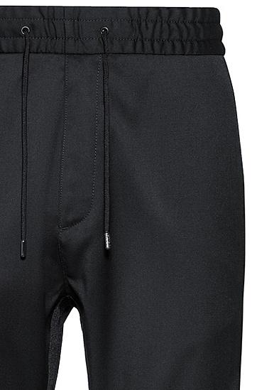 锥形版翻卷裤脚羊毛长裤,  001_黑色