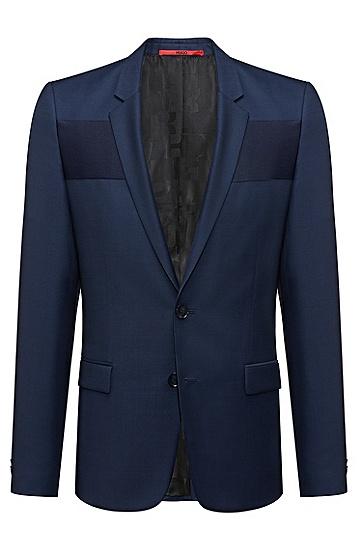 修身版对比色饰带针织鸟眼布外套,  419_海军蓝色