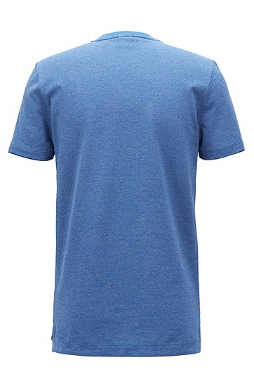 V字领纱染mouliné棉质T恤,  474_淡蓝色
