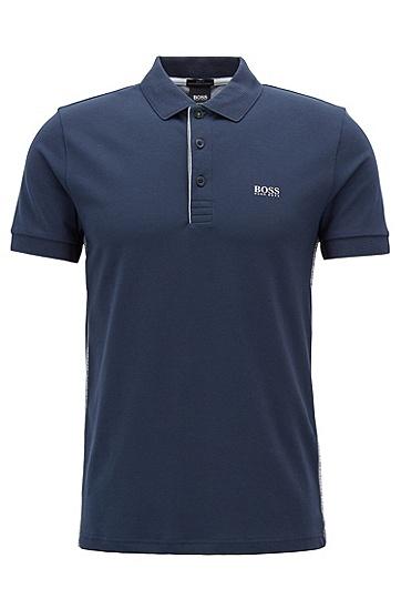 饰以S.Café®元素和侧缝铭牌的修身版polo衫,  410_海军蓝色