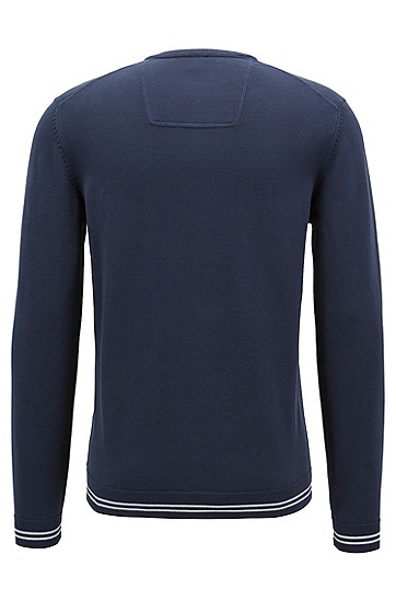 男士对比镶边与logo嵌花针织毛衣,  410_海军蓝色