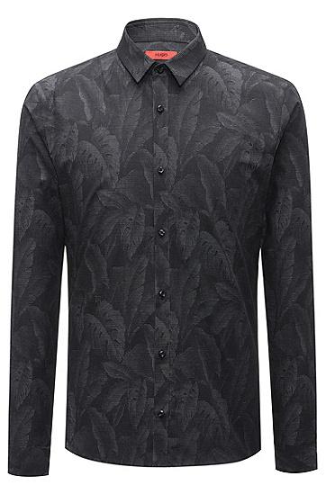 饰以提花芭蕉叶图案的修身版棉质衬衫,  001_黑色