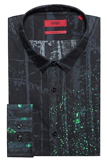 饰以萤火虫印花的修身版棉质衬衫,  413_海军蓝色