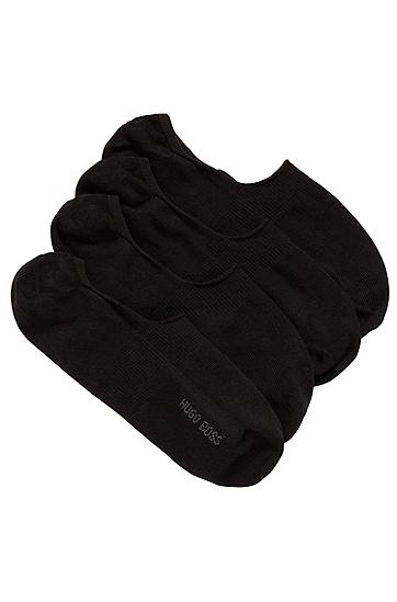 两双装硅胶成分棉质混纺隐形船袜,  001_黑色
